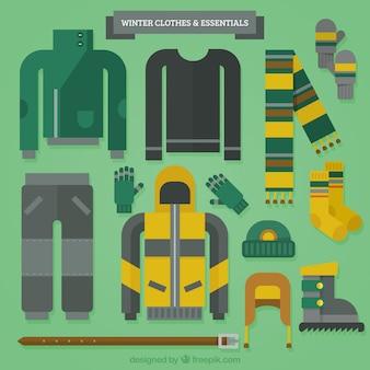 Big collection de vêtements et d'accessoires en design plat
