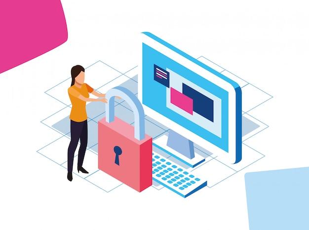 Big data design coloré avec cadenas, ordinateur et femme