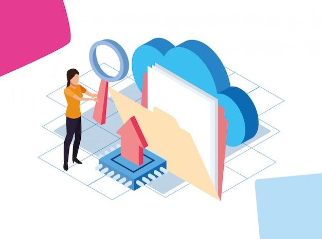 Big data design coloré avec femme avec dossier et stockage cloud