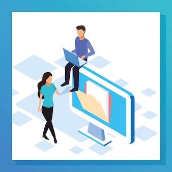 Big data design coloré avec ordinateur avec femme et homme