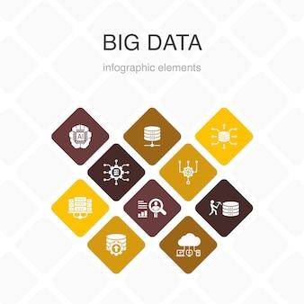 Big data infographic 10 option couleur design.base de données, intelligence artificielle, comportement de l'utilisateur, icônes simples du centre de données