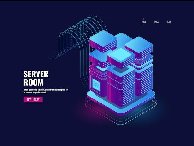 Big data, technologie blockchain, système d'accès par jeton, salle de serveurs