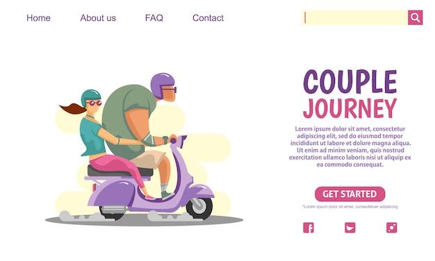 Big guy et beauté fille équitation violet scooter vintage moto aventure voyage.