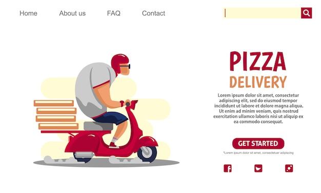 Big guy riding scooter rouge moto vintage transportant des boîtes à pizza, service de livraison.
