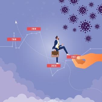 Big hand organisant l'empilement de blocs comme escalier pour grandir concept business support