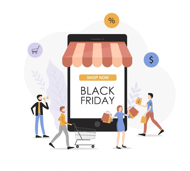 Big set people, shop card, woman and men buy products, packages, sale banner, black friday card, flat people character, online shop