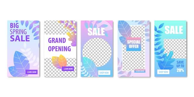 Big spring sale grande ouverture offre spéciale bannière ensemble avec
