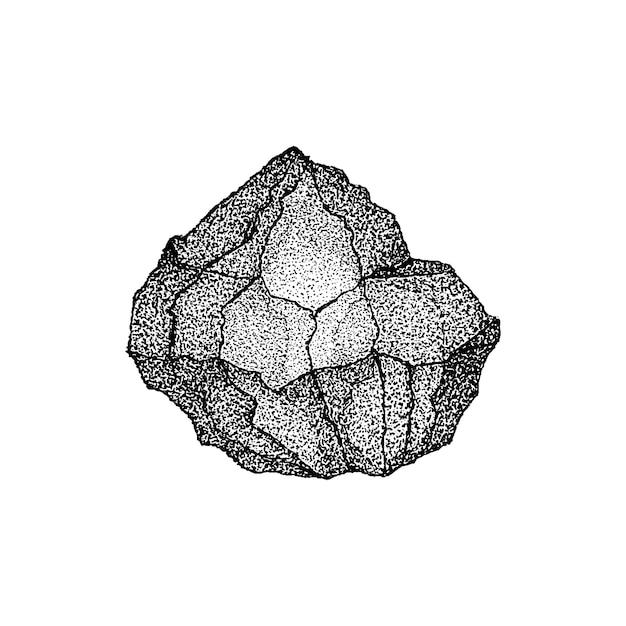 Big stone dotwork vector. illustration de croquis dessinés à la main de tatouage.