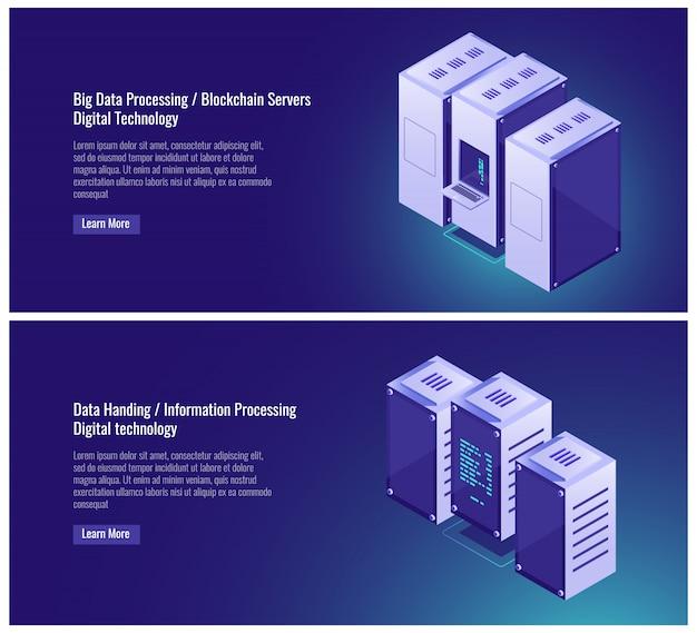 Big, traitement de données, salle des serveurs, hébergement, blockchian, transfert de données, ordinateur