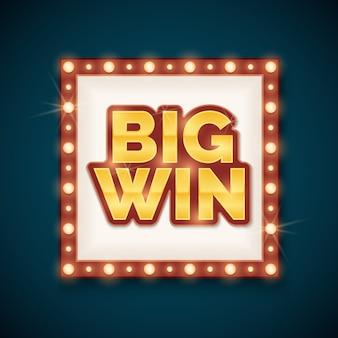 Big win banner avec lampes rougeoyantes sur le cadre