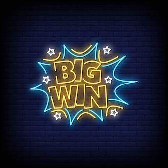 Big win néon style texte