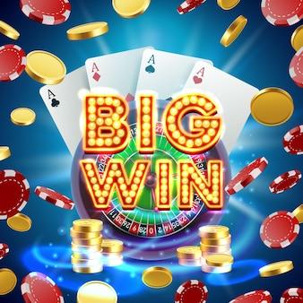 Big Win Roulette Casino Enseigne, Conception De Bannière De Jeu. Illustration Vectorielle Vecteur Premium