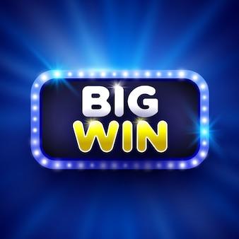 Big win signe rectangulaire bleu avec des lumières.