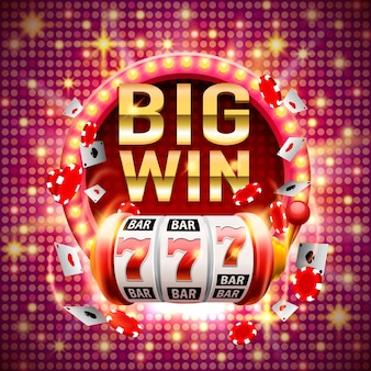 Big win slots 777 bannière casino. illustration vectorielle