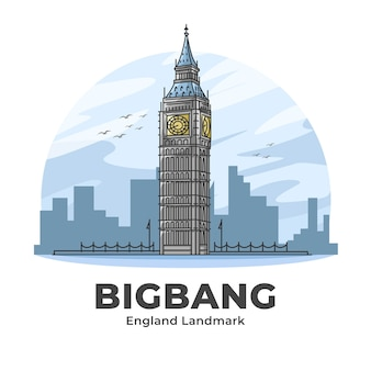 Bigbang clock tower angleterre landmark illustration de dessin animé minimaliste