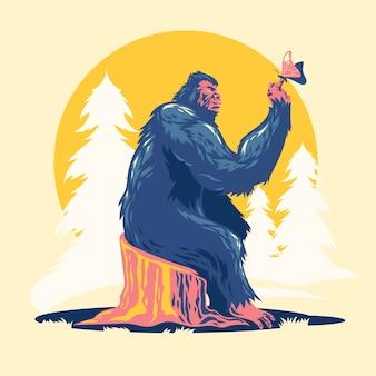 Bigfoot jouant avec des papillons