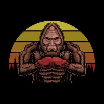 Bigfoot portant des gants de boxe rétro coucher de soleil