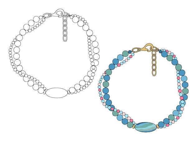 Bijoux fait main un bracelet en deux rangs avec une grosse perle ovale