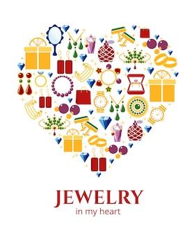 Bijoux en forme de coeur. boucle d'oreille et bague, boutons de manchette et collier, illustration vectorielle