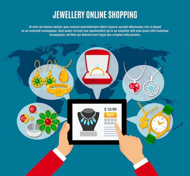 Bijoux en ligne shopping composition