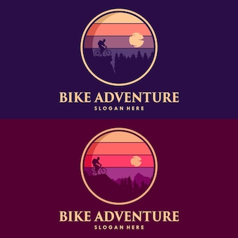 Bike adventure avec un logo de montagne