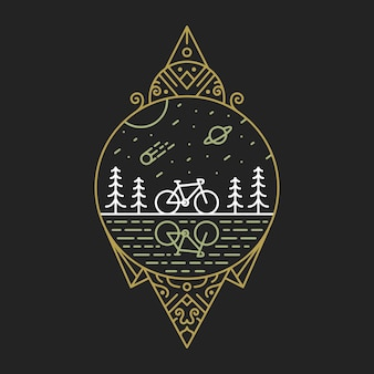 Bike to nature 3 monoline illustration