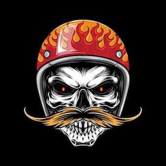 Biker crâne rétro avec vecteur de moustache