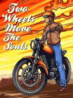Biker moto vintage sur la montagne