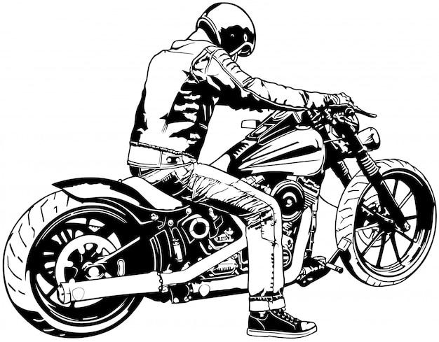 Biker noir et blanc sur une moto