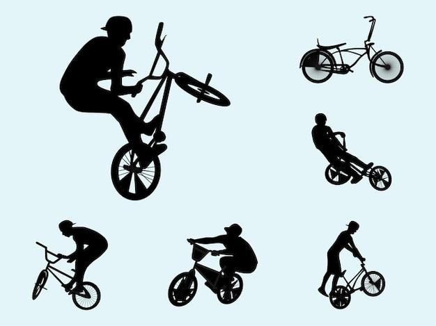 Biker silhouettes vecteur d'activité décalque