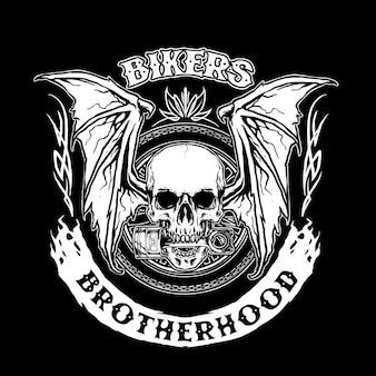 Biker tête de mort avec piston et ailes de chauve-souris