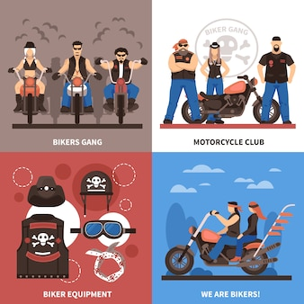 Bikers concept icons set