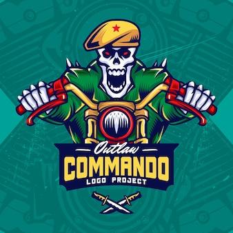 Bikers de crâne militaire esport logo design