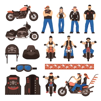 Bikers flat cartoon icons set