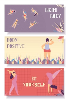 Bikini body positive flat banner set design floral