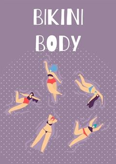 Bikini body woman summer party flat cartoon bannière