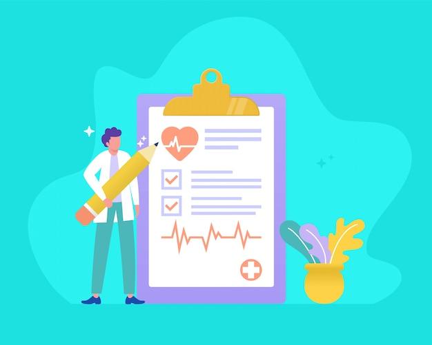 Bilan de santé, illustration, concept, docteur, tenue, crayon, forme