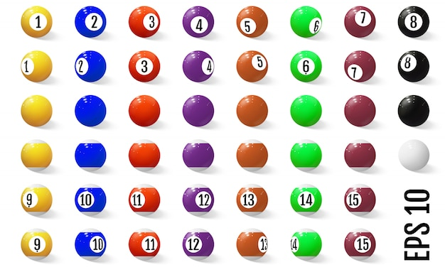 Billard, boules de billard avec des chiffres.