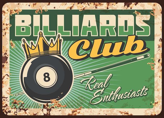 Billard club plaque de métal rouillé vintage signe d'étain rouille