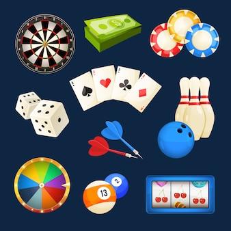Dés, billard, jeux de casino, cartes et autres divertissements populaires.