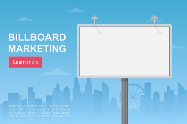 Billboard city marketing, annonces publiques, modèle de page de destination du service de promotion
