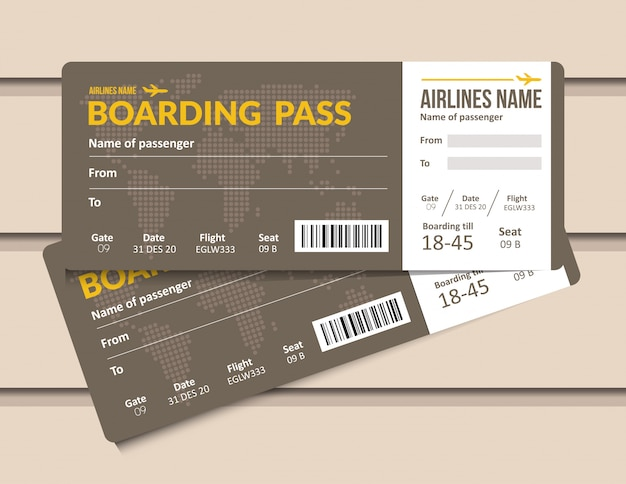 Billet d'avion. modèle de carte d'embarquement de compagnie aérienne. document de laissez-passer pour l'aéroport et l'avion.