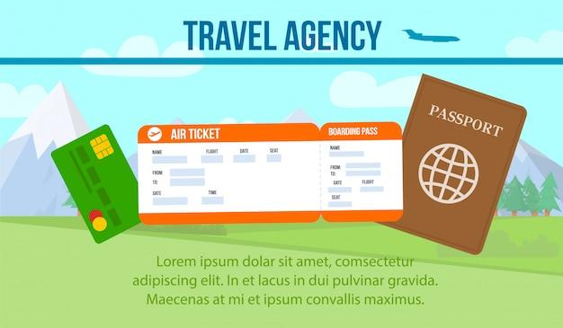 Billet d'avion, passeport sur fond de montagne bannière