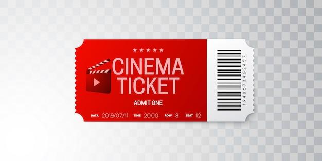 Billet de cinéma isolé sur fond transparent.