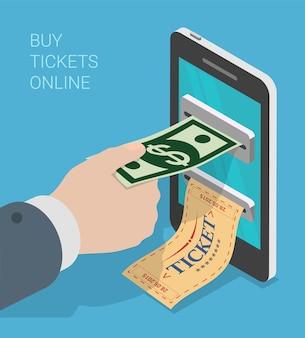 Billet mobile isométrique plat d processus d'achat concept d'infographie web
