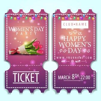 Billet rose à la fête des femmes avec bouquet de tulipes