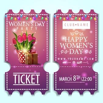 Billet rose à la fête des femmes avec seau avec tulipes