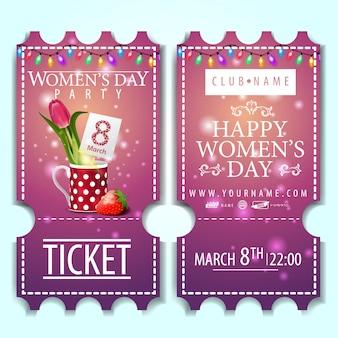 Billet rose à la fête des femmes avec une tulipe dans une tasse