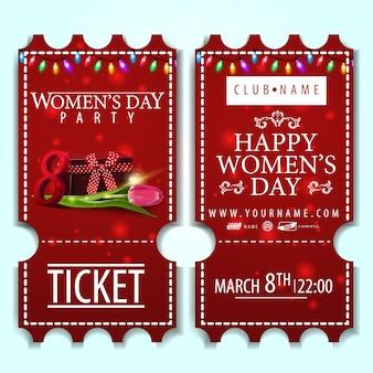 Billet rouge à la fête des femmes avec cadeau et tulipe