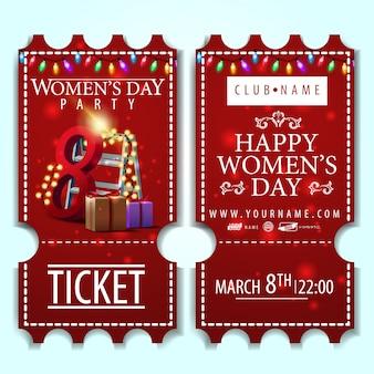 Billet rouge pour la fête des femmes avec des cadeaux